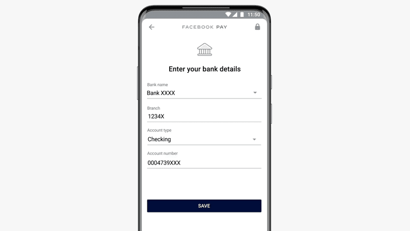 This image shows how to enter your bank details to activate your WhatsApp Pay account.