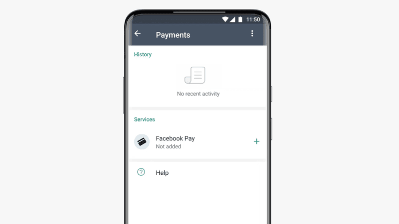 This image shows how to add Facebook Pay to enable the Payments feature.