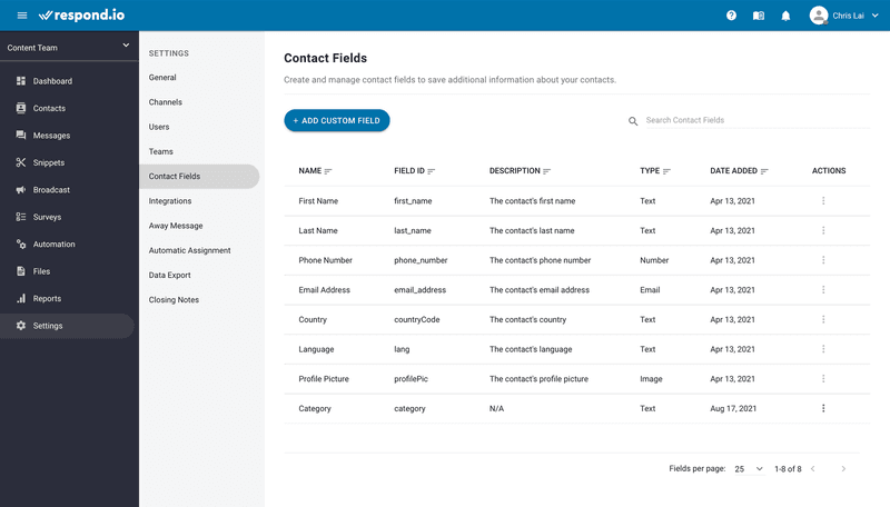 This is an image on how to set up onboarding menu. Before setting up an onboarding menu, create a new Custom Field to record the results. Navigate to Settings > Contact Fields to do so. Click Add Custom Field.