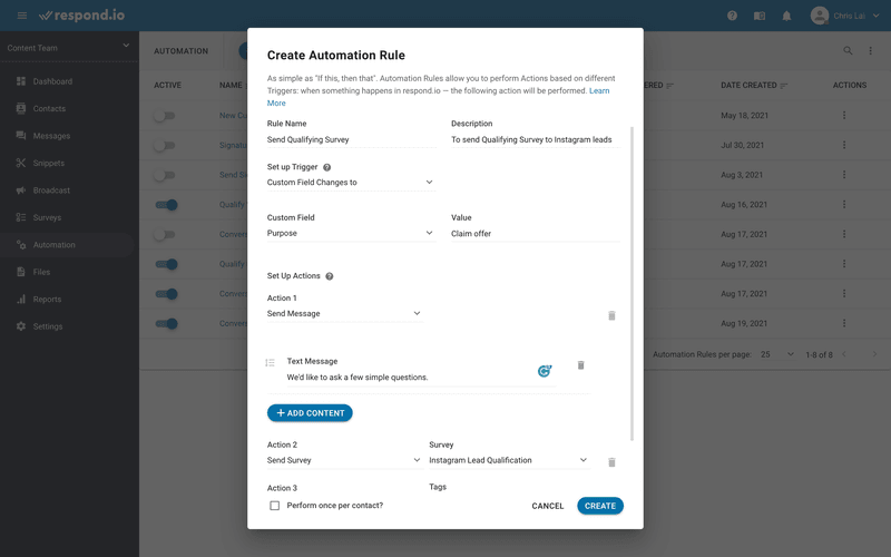 This is an image on how to create a qualifying survey. Add a rule name and an optional description. Then, select Custom Field Changes To as the Set-Up Trigger. Make sure the value of Custom Field matches the ad-related Option you've created in step 4.