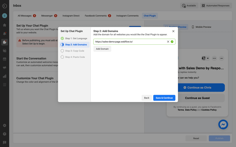 This is an image showing how to generate a Messenger Widget Code on Facebook Business Suite Inbox. Add the domain for the website you'd like the Facebook Messenger widget to appear.