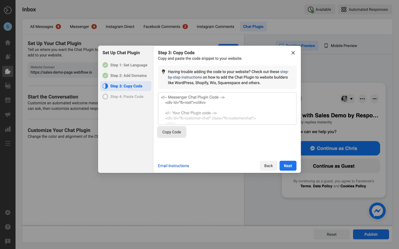 This is picture showing how to Add Facebook Messenger to Website. Click Copy Code and then click Next.
