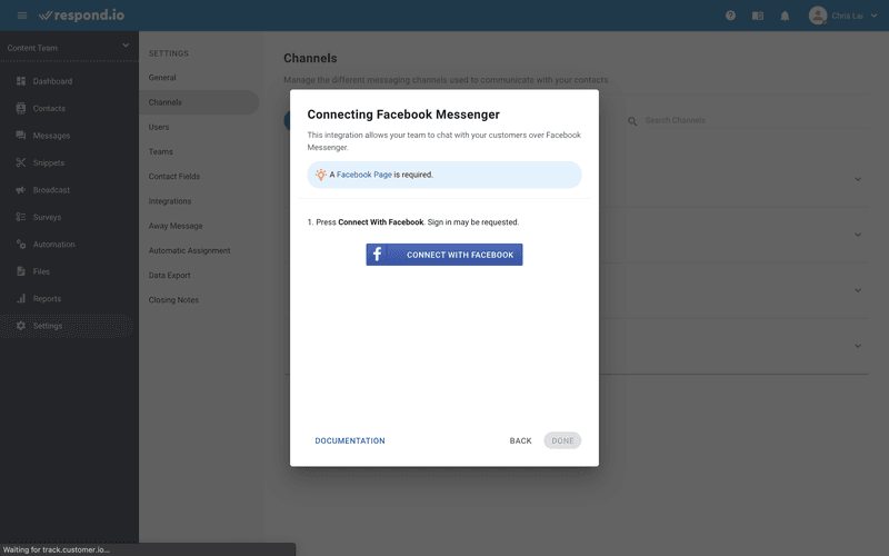 This is picture showing how to add Facebook Messenger to ja.respond.io Press Connect with Facebook. Sign in to the Facebook account that has admin access to the page you'd like to connect to.