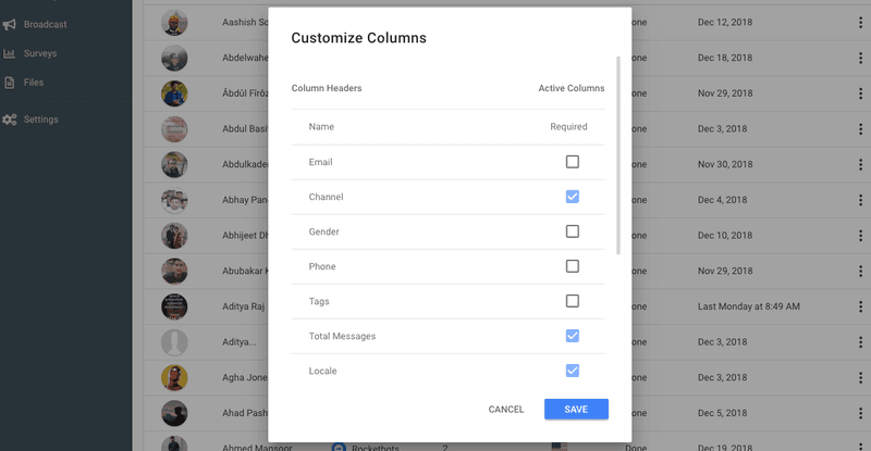 Contacts Module Column Picker