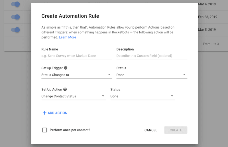 The Rocketbots automation module allows you to create triggers and actions for chat automation.