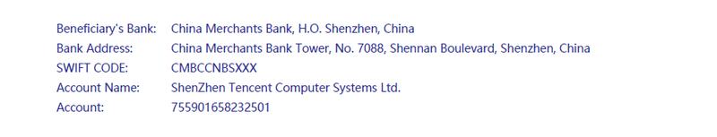 Tendrás que enviar una transferencia a esta dirección para verificar tu cuenta oficial de WeChat.