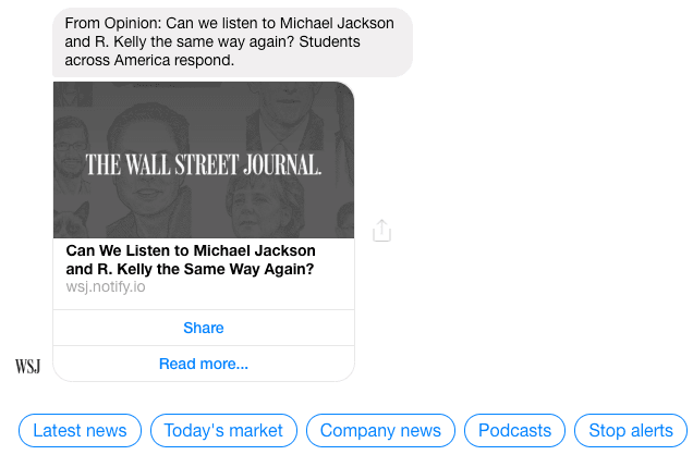 An R.Kelly breaking news notification from the Wall Street Journal messenger marketing campaign