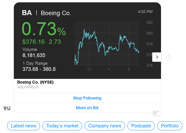 The boeing stock ticker is displayed in the portfolio view of the Wall Street Journal Messenger Marketing Campaign