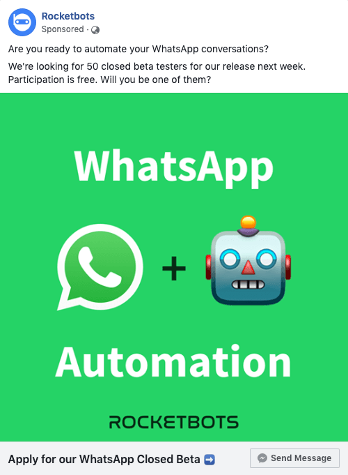The ad we used for our Facebook Click to Messenger marketing campaign