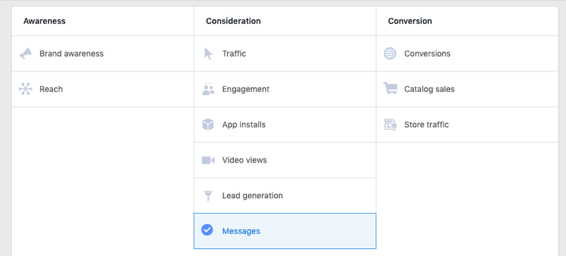 We created a Facebook Messenger Click to Messenger marketing Campaign, this is how you set up the campaign on Facebook