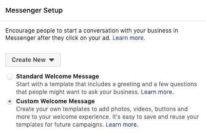 We used a custom welcome message to generate Facebook Messenger leads for our Facebook Messenger marketing campaign.