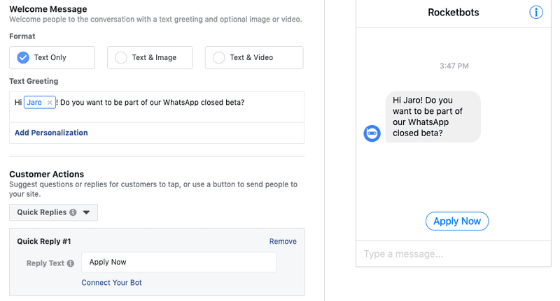 This was the custom welcome message we used to generate Facebook Messenger leads for our Facebook Messenger marketing campaign.