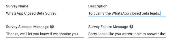 This was the survey title we used to generate Facebook Messenger leads for our Facebook Messenger marketing campaign.