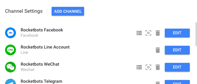 This image displays the Rocketbots Settings Menu, Chanel Panel here you're able to connect a Facebook Page, WhatsApp Account, WeChat Official Account, Telegram Bot, Viber Bot, Kik Bot, Line@ Account & Twitter Dms.