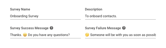 This image shows how we fill in success and failure messages when creating surveys on the Rocketbots platform.