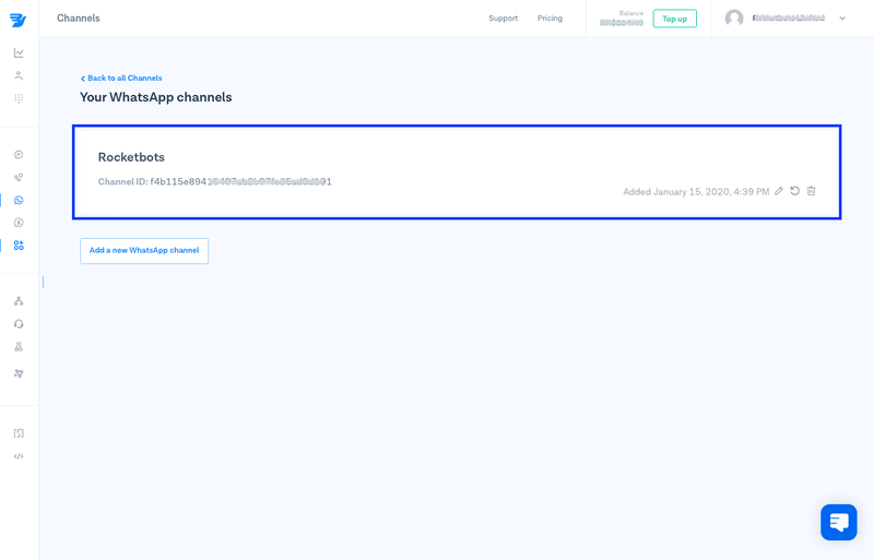 This is an image showing how to MessageBird chat api to respond.io. To connect your MessageBird WhatsApp API to respond.io, add the Channel ID and WhatsApp Enabled Number.