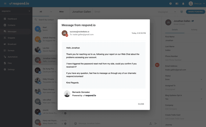 This is a picture of an email sent from respond.io. By default sent emails have the Agent's Name and Profile Picture added as a signature. This preference can be adjusted in Channel Settings.