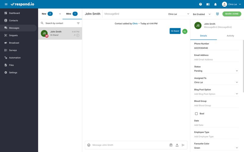 This is a picture showing how to send the first SMS message to your Contact. SMS is one of those channels that allow businesses to send the first message. To start a 1:1 conversation with your Contact, simply head to the Messages module.
