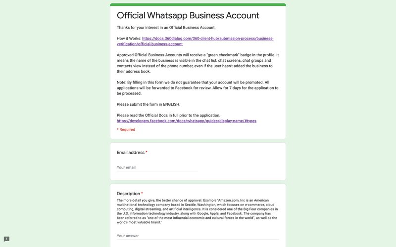This is an image of the Application Form for Whatsapp Official  Business Account. To verify WhatsApp business account on 360dialog,  simply fill up this form. Learn more about how to get whatsapp official business account on our blog post.