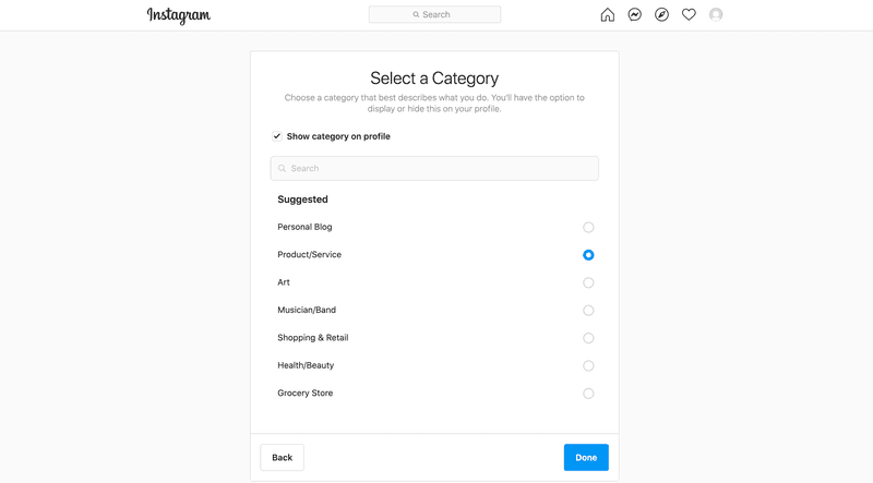 Select a relevant business category when you sign up for an Instagram Business account.
