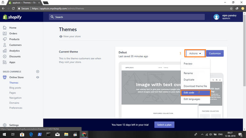 Once you have your Facebook Customer chat plugin script ready, Navigate to your spotify themes and edit the code.