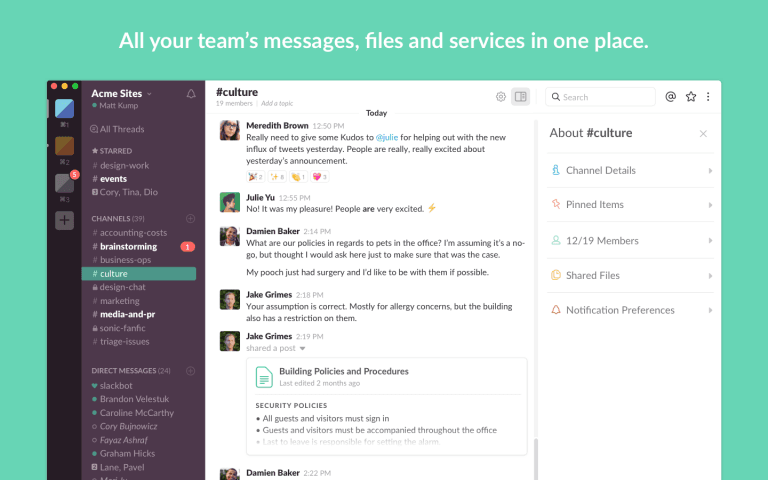 Slack, It can be used for instant messaging for business.