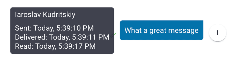 When hovering over the message a Status Summary is shown for Sent, Delivered, and Read times. Message Status will certainly help conversations with Contacts. Now on to productivity features for platform Users.