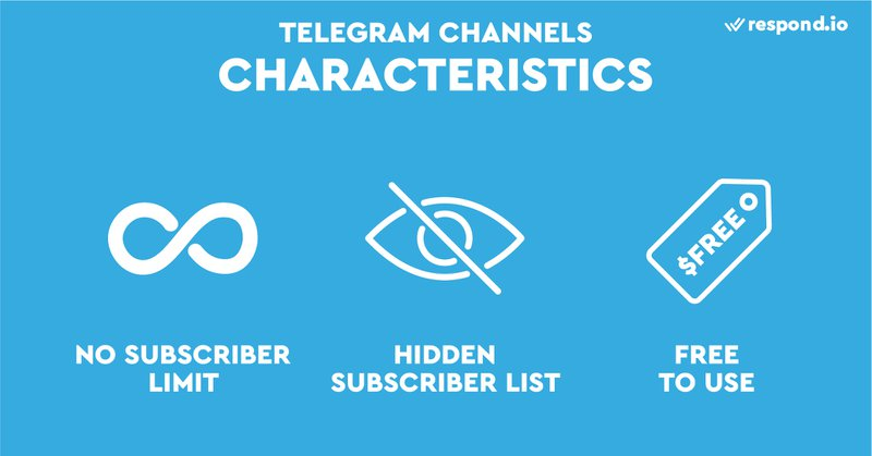 This is a picture showing the characteristics of Telegram Channels. Do Telegram Channels have a subscriber limit? No, Telegram Channels can have an unlimited number of subscribers. Subscribers cannot see each other so they do not know who else subscribed to the channel.