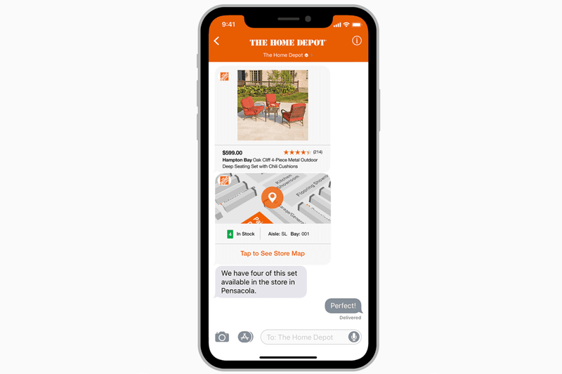 Beyond regular messages and rich links, on Apple Business Chat businesses can design additional experiences for their customers in a chat, using an iMessage app. You can use an iMessage app, or an iOS app containing an embedded iMessage app. The Home Depot, for example, use an iMessage app to let customers view product details. They even offer an in-store map to show where a product is located in their stores.