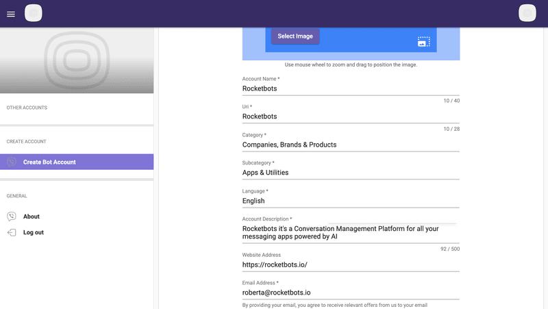 Al crear una cuenta de bots de Viber, básicamente está configurando su perfil comercial de Viber.