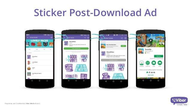 El formato publicitario más interesante son los stickers de Viber. Cuando los usuarios descarguen paquetes de stickers de marca, se suscribirán al Viber Bot automáticamente.