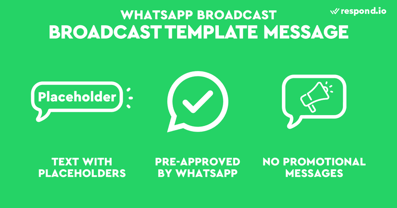 Template Messages are essentially strings of text with placeholders for customer updates. Businesses can use it to broadcast messages or to prompt a customer to restart a conversation 24 hours after their last interaction with you.