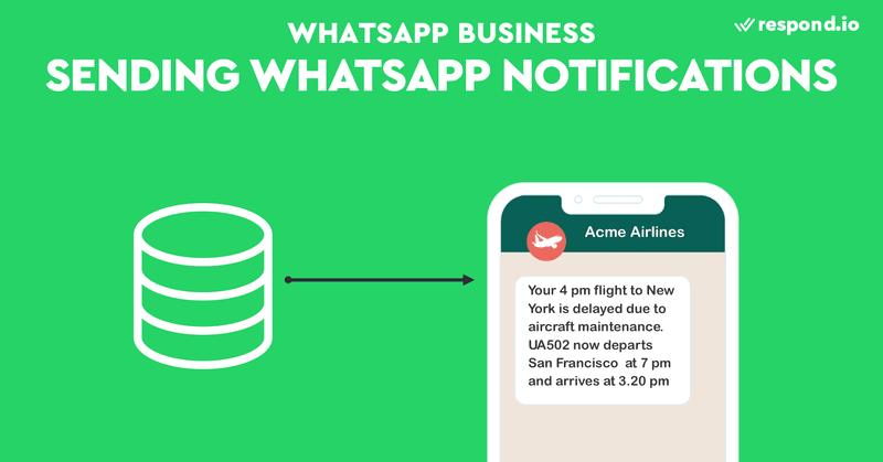 Esta es una imagen que muestra la función de envío de notificaciones de WhatsApp en Respond.io. La API de Mensajes de nuestra plataforma permite a las empresas enviar programáticamente notificaciones de WhatsApp. Las empresas pueden enviar un gran volumen de actualizaciones de pedidos o alertas de cuentas desde sus propios sistemas. La API de Mensajes no es compatible con los Mensajes de Plantilla de WhatsApp por el momento, pero está en proyecto.