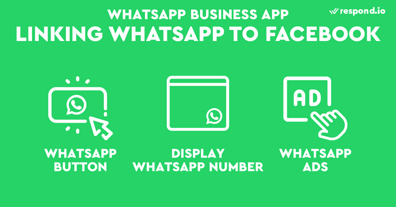 As part of the Facebook family, WhatsApp Business App can be linked to a Facebook Page to funnel traffic using a WhatsApp Send Message Button, Facebook Ads, or just displaying your WhatsApp number in the about section of your page.