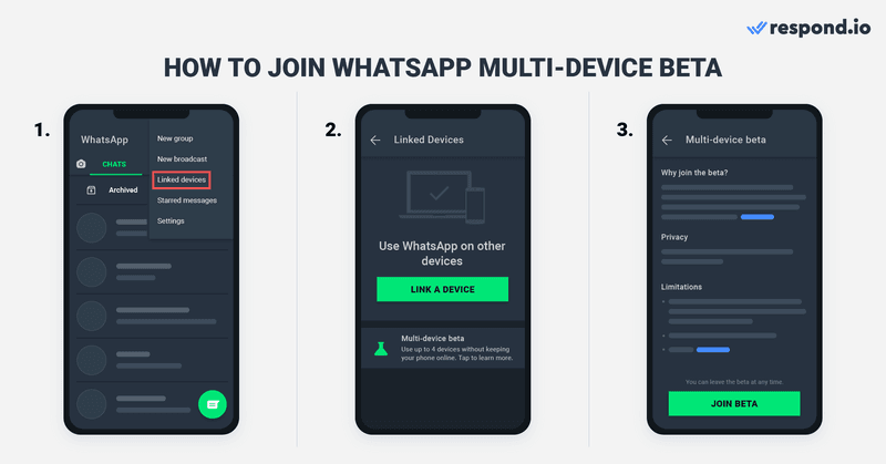 If you're on Android:  Open WhatsApp Business App, Tap the More Options icon with 3 vertical dots. Tap Linked Devices. Select Multi-Device Beta. Press Join Beta.
