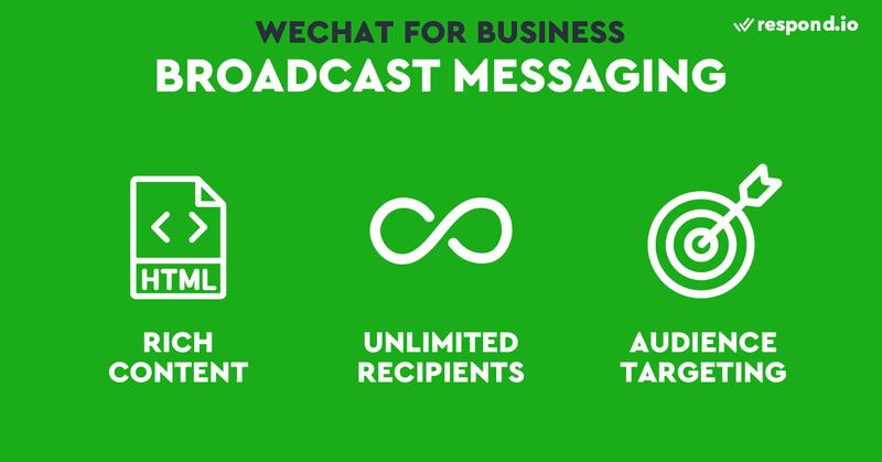 Esta es una imagen que describe las características de la mensajería de difusión en la cuenta oficial de WeChat. Como los contactos de WeChat no se pueden importar, tendrás que conseguir que tus clientes te sigan primero antes de poder enviarles una difusión. La mayoría de las aplicaciones de mensajería sólo permiten texto e imágenes en sus difusiones, pero puedes crear contenido enriquecido para WeChat. En la plataforma de la cuenta oficial de WeChat puedes escribir un mensaje de difusión con un editor HTML e incluso incluir un miniprograma en él. Si eres nuevo en la plataforma de administración de cuentas oficiales de WeChat, probablemente te preguntes cómo publicar en mi cuenta oficial de WeChat. Sigue leyendo para saber cómo sacar el máximo partido a tu cuenta oficial de WeChat.