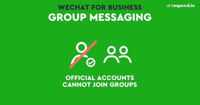 Muchas empresas están utilizando aplicaciones de mensajería para las ventas creando grupos con vendedores y clientes. Aunque son eficaces, estos chats suponen un problema para las empresas, ya que no queda constancia de ellos en los CRM de la empresa. Una forma de solucionar esto sería añadir una cuenta oficial de WeChat en el chat de grupo, para que la conversación quede registrada en su CRM de mensajería. Hemos probado esto, pero desafortunadamente, las cuentas oficiales de WeChat no pueden añadirse a los chats de grupo.