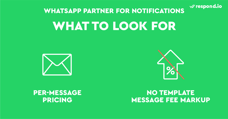 This is a picture that shows the things to look for when choosing a WhatsApp Partner for WhatsApp Notifications. First, you should go for a WhatsApp Partner that offers per-message WhatsApp Business API pricing. Also, you should avoid a WhatsApp Partner that impose a markup on Template Message fees.
