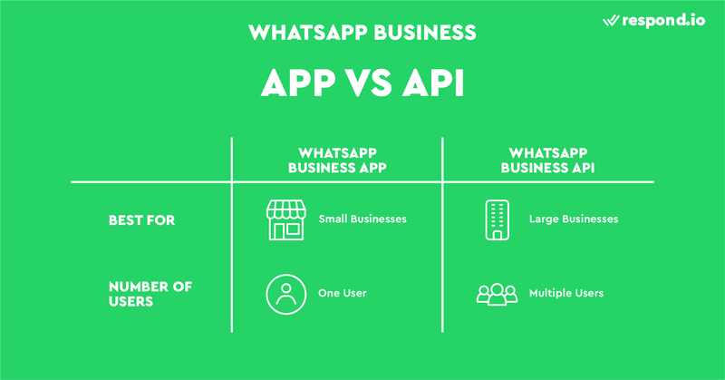 This is an image about WhatsApp Business API accounts. WhatsApp has 2 types of business accounts - WhatsApp Business App and WhatsApp Business API.