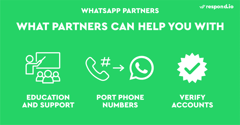 This is a picture that shows the things WhatsApp Partners can help you with. If you are new to WhatsApp Business API, WhatsApp Partner is your friend. WhatsApp Partners are ready to provide guidance with every step of the way - from figuring out messaging rules to porting numbers to verifying your WhatsApp Business API account.
