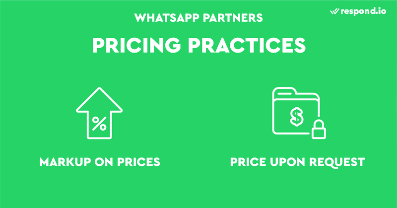 This is an image about WhatsApp Business Pricing practices of WhatsApp Partners. Some WhatsApp Partners have practices that are not ideal for businesses. For instance, some Partners require businesses to pay a markup while others keep their pricing details private.