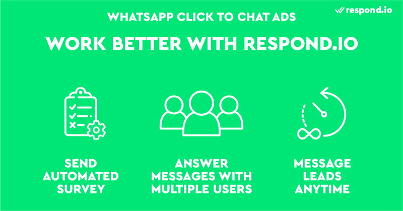 This is an image showing how WhatsApp Click to Messenger ads and respond.io work better together. Respond.io helps you qualify WhatsApp leads faster through automated surveys. Plus,  we make it possible to answer messages with multiple users and connect with your leads anytime you want.