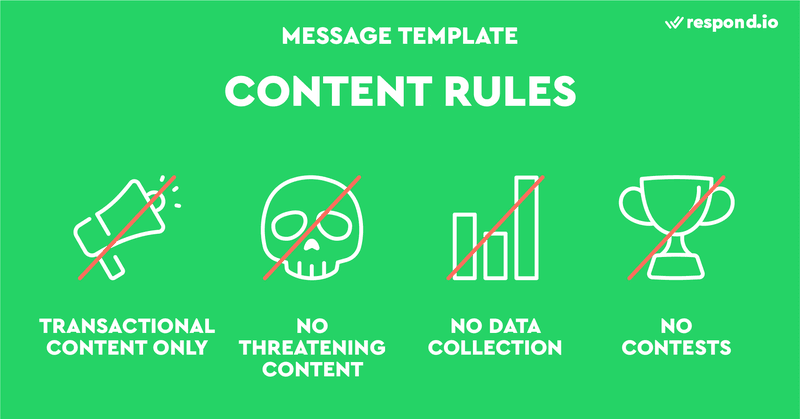 This is a picture of content rules of WhatsApp Message Template. To protect its users from spam and harmful content, WhatsApp has come up with four rules on what businesses can't send with Message Templates: Transactional content only, no threatening content, no data collection, and contests or quizzes