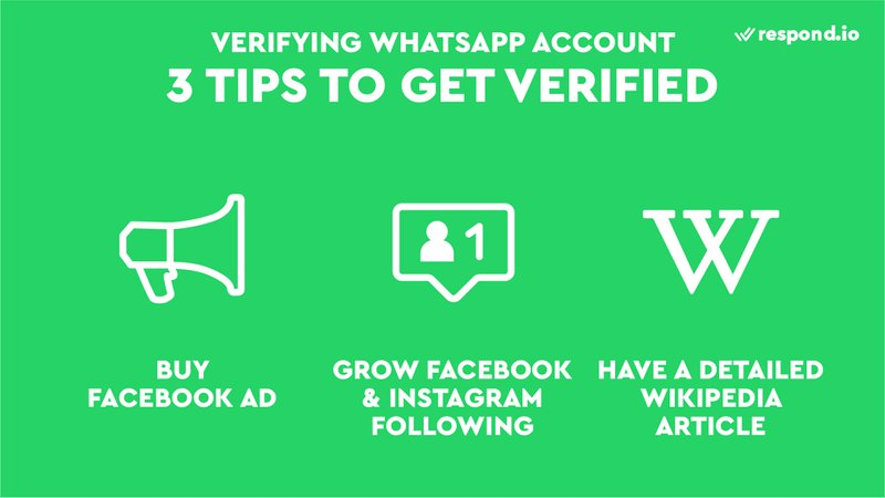 This is an image showing 3 tips to get verified. This includes having some ad spend in your Facebook Business Ad Account, growing your Facebook and Instagram following to at least about 10k likes/followers to indicate brand awareness, and having a detailed Wikipedia article, which proves that the business is well known