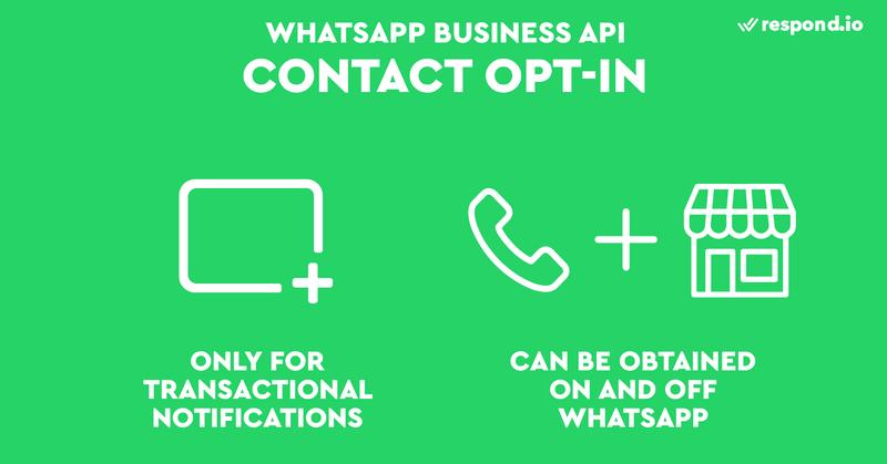 La política de opt-in sólo es necesaria para las notificaciones transaccionales o los mensajes enviados después de 24 horas (Mensajes de plantilla). Las empresas pueden obtener el opt-in de muchas maneras, tanto dentro como fuera de WhatsApp.