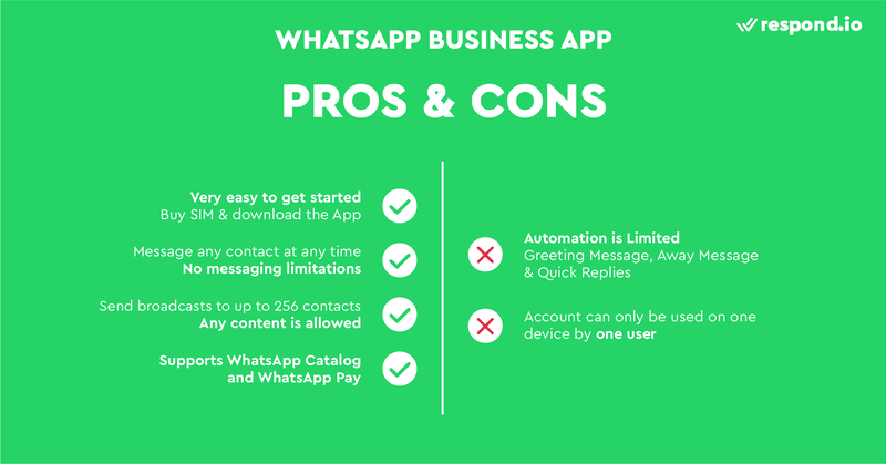 The pros and cons of using the Business App for WhatsApp.