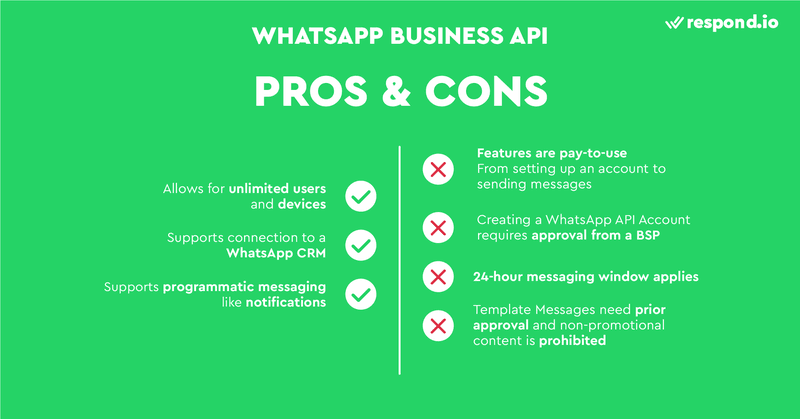 The pros and cons of using the API account for WhatsApp.
