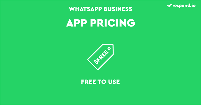 The business app pricing for WhatsApp is simple. WhatsApp doesn't charge for using the app, but there are some associated costs. You'll need a dedicated phone number because using the same number for personal and business WhatsApp is not allowed.