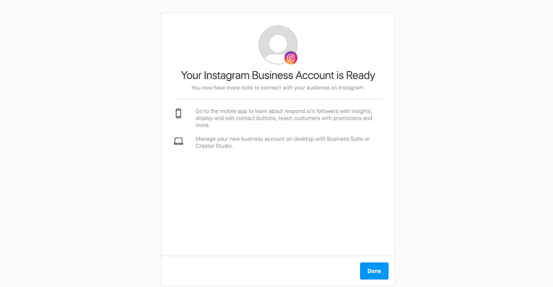 This is what it looks like when your Instagram Business Account is ready.