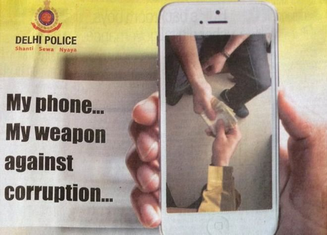 An image of the newspaper ad the Delhi police used in their WhatsApp marketing anti corruption campaign.